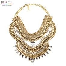2016 Nuevo diseño al por mayor de las mujeres exageran Z mettal cadena de moda collar de cristal de vestuario chunky gargantilla Collar babero declaración