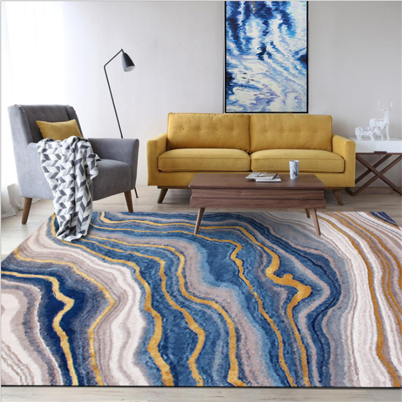Gold Living Room Carpet: AOVOLL Nordic Light Luxury European Abstract Art Blue Gold