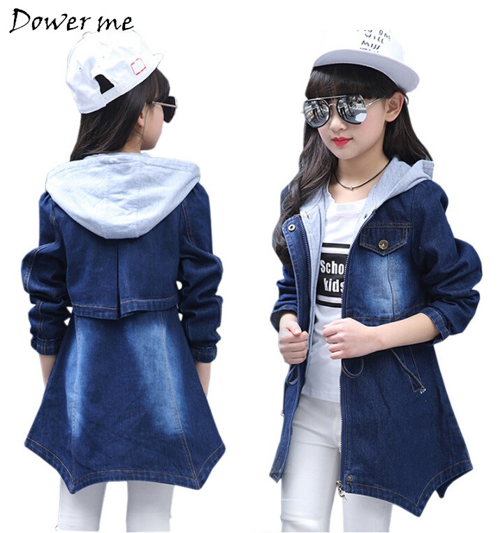 Girls Jackets Fashion Cowboy Coats Brand New Kids Trench Coats For Girls Long Jackets Autumn Children Clothing ...