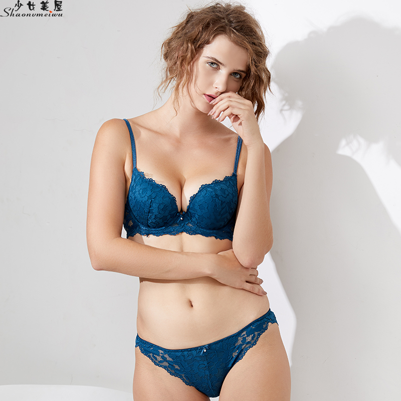 Shaonvmeiwu Winter lace underwear   bra     set   sexy small chest thick gathered underwear   bra     set