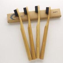 4 шт. кроны дерева зубная щетка уголь столб Стиль Бамбука Зубная щетка мягкой щетиной головчатого бамбуковое волокно деревянной ручкой