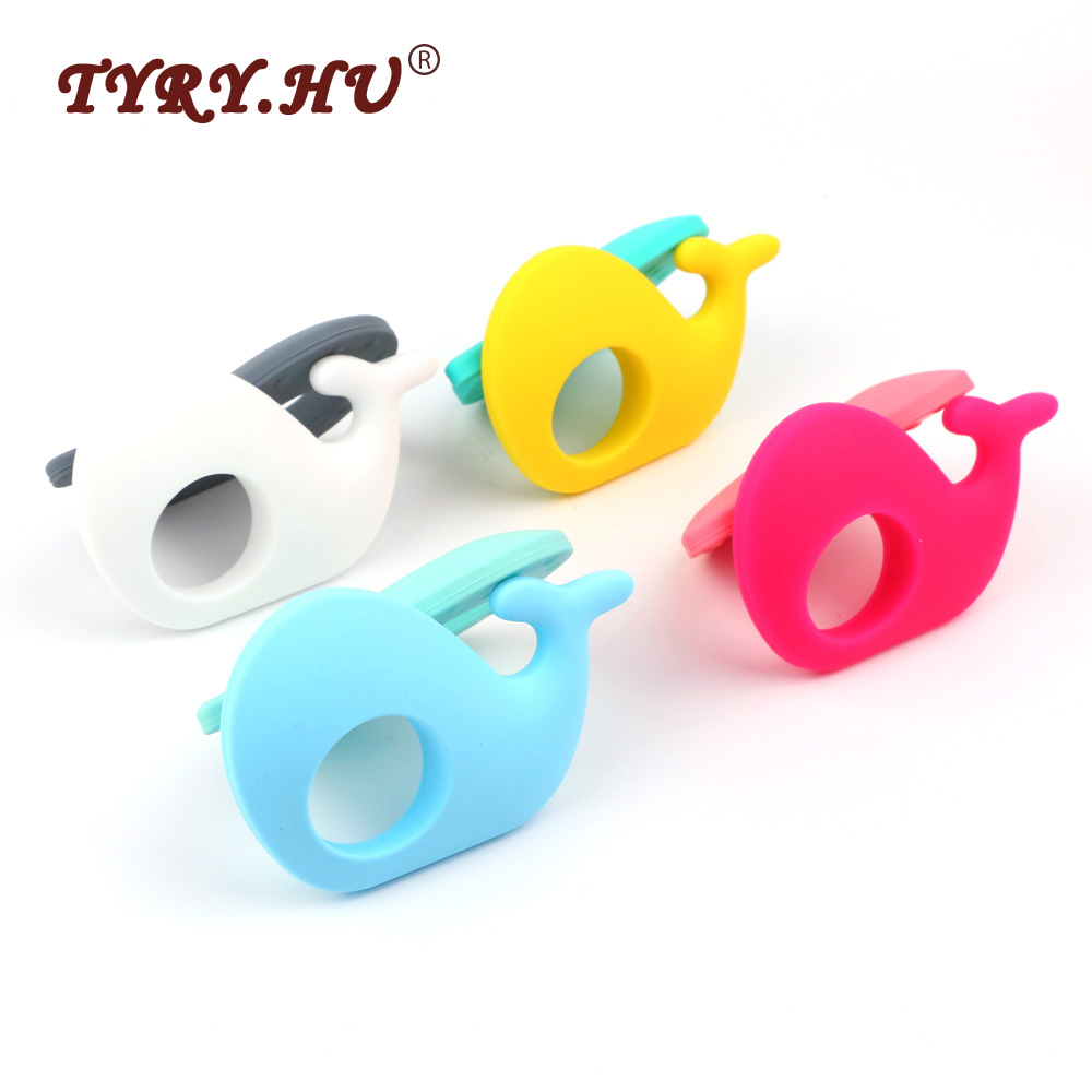 TYRY.HU Whale Shaped Baby Teethers 1Pc Food Grade Silicone Teether Baby Teething Chewed Toys For Nursing Jewelry Necklace Making