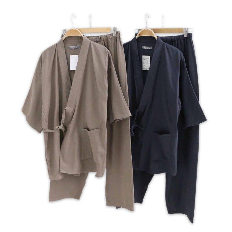 Hot sale 100% gauze cotton kimono pajamas mens simple short sleeve japanese Robe sets for male pijama hombre pyjamas Robes ...
