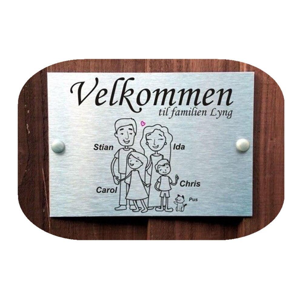 (Velkommen)Norwegian Door Plaques Personalised Stick Family Name Signs for 4 People Aluminium-polyethilene Composite Panel(Velkommen)Norwegian Door Plaques Personalised Stick Family Name Signs for 4 People Aluminium-polyethilene Composite Panel