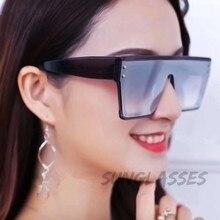 Higodoy Square Plastic Oversized Sunglasses Women Mirror Vintage Men Brand Designer Eyewear Sun glasses UV400