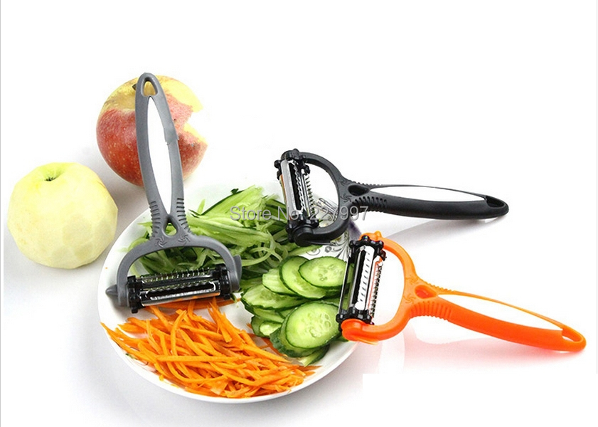 SEN Cocina Multifuncional Creativa Peeler de Tres Piezas para Cortar Vegetales Negro y Rojo y Azul