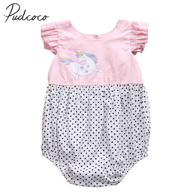 PUDCOCO Brand Cotton Blend Summer Infant Newborn Clothes Baby Girls Unicorn Jumpsuit Romper Body Suit Outfit Clothes 0-24M pudcoco newborn infant baby girls clothes short sleeve floral romper headband summer cute cotton one piece clothes