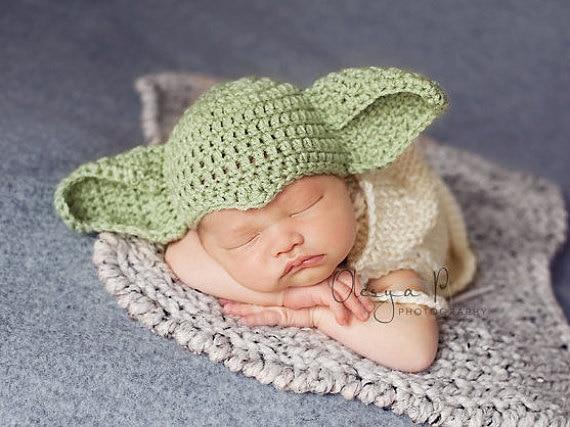 2016 Baby Crochet hats 0-3M Photo Props Cap Newborn Star wars hat Baby Yoda hat  Green d5efa301520