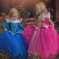 Sleeping Beauty Cosplay Costume Fantasy Kids Princess Aurora Dresses Girls Halloween Costume For Kids Party Dress