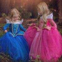 Sleeping beauty cosplay fantasy bambini principessa aurora vestiti delle ragazze costume di halloween per i bambini party dress