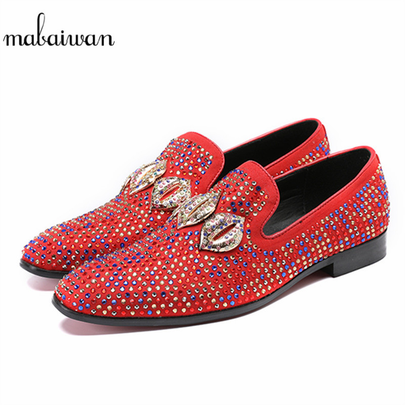 Mabaiwan Fashion Rhinestone Men Casual Shoes Suede Loafers Genuine Leather Men Wedding Dress Shoes Men Crystal Espadrilles Flats mabaiwan fashion rhinestone flats men loafers wedding dress shoes slip on casual shoes men creepers espadrilles mocassin homme