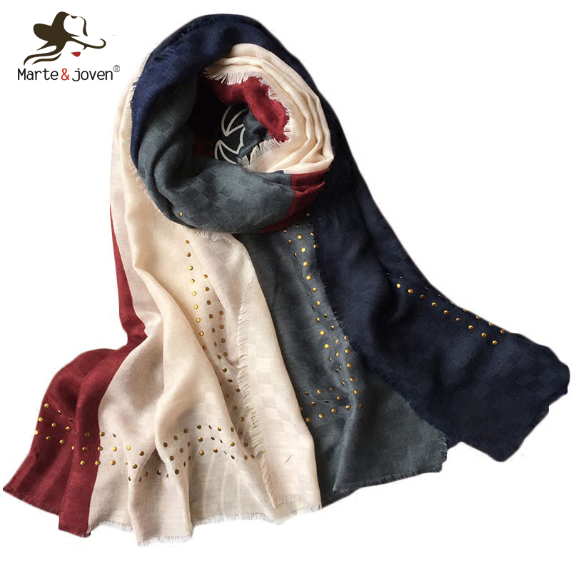 Marte Joven Newest Patchwork Design Muslim Hijab Shawls for Women Fashion  Sequins Fringe Long Scarf Stole Spring bfa1aa3a1032