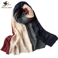 Marte&Joven Newest Patchwork Design Muslim Hijab Shawls for Women Fashion Sequins Fringe Long Scarf Stole Spring Polyester Wraps