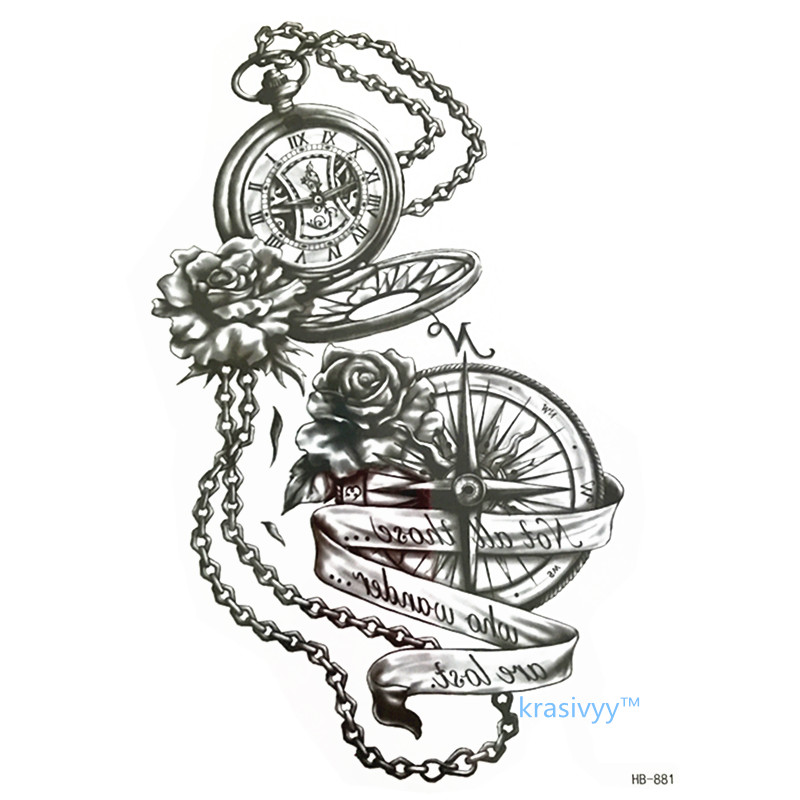 2017 hot sales high quality Cool Beauty compass Tattoo Waterproof Temporary fake tattoo Stickers make up boys girls tattoos 881