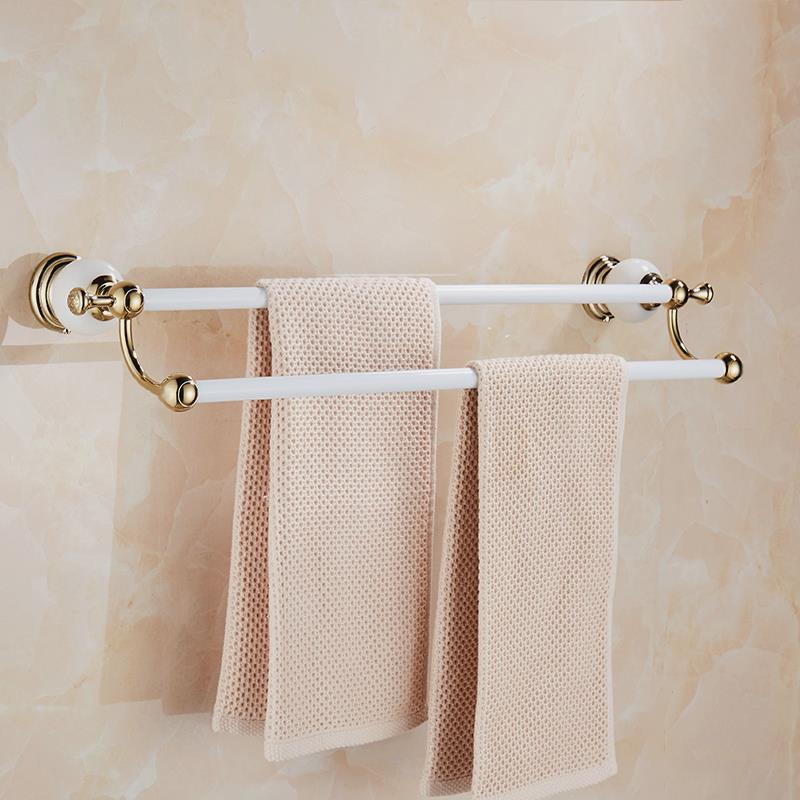 Bathroom hardware pendant can be punched European towel rack White jade towel rod double towel hanging LO821237 стоимость