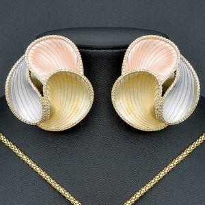 Image 2 - ModemAngel יוקרה אלגנטי גיאומטרי פרח אופנה תליון שרשרת ועגיל לנשים כלה שמלת חתונה אלגנטי תכשיטים