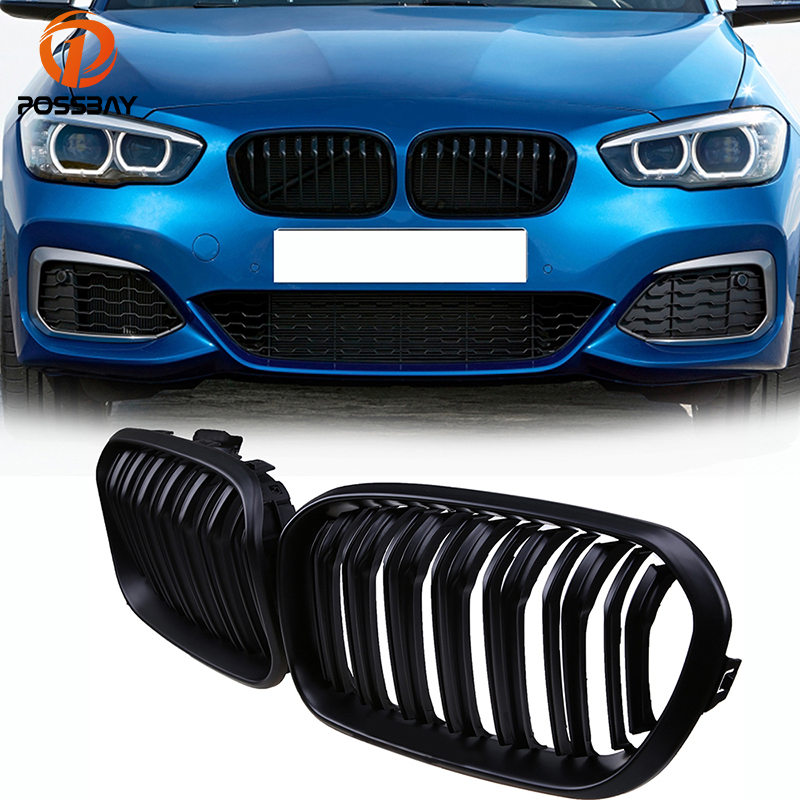 Pair Of ABS Material Car Gloss Black Front Grille Decoration Grilles Auto Styling For BMW 1 Series F20 F21 2015-2017 grille