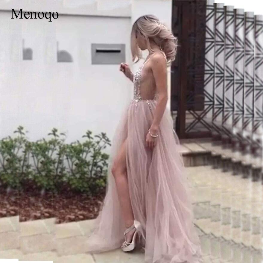 Sexy Tulle longues robes de bal 2019 nouveauté dos nu balayage Train perlé une ligne Occasion spéciale robes de soirée sur mesure - 4
