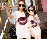 Mother Daughter Clothes Matching Mom And Daughter Clothes Sequins Ruffles Sleeve Family Matching Clothes Mom And Me Dress