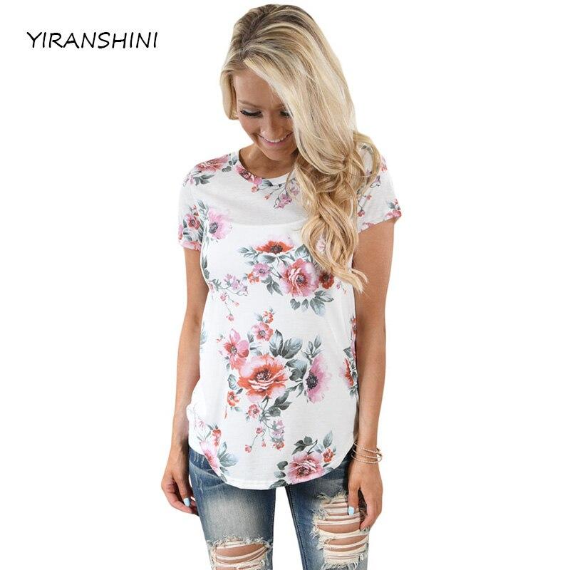 YIRANSHINI 2018 verano blanco flor impresión rayas camisetas señora Casual o-cuello corto manga Tops moda poliester LC250067