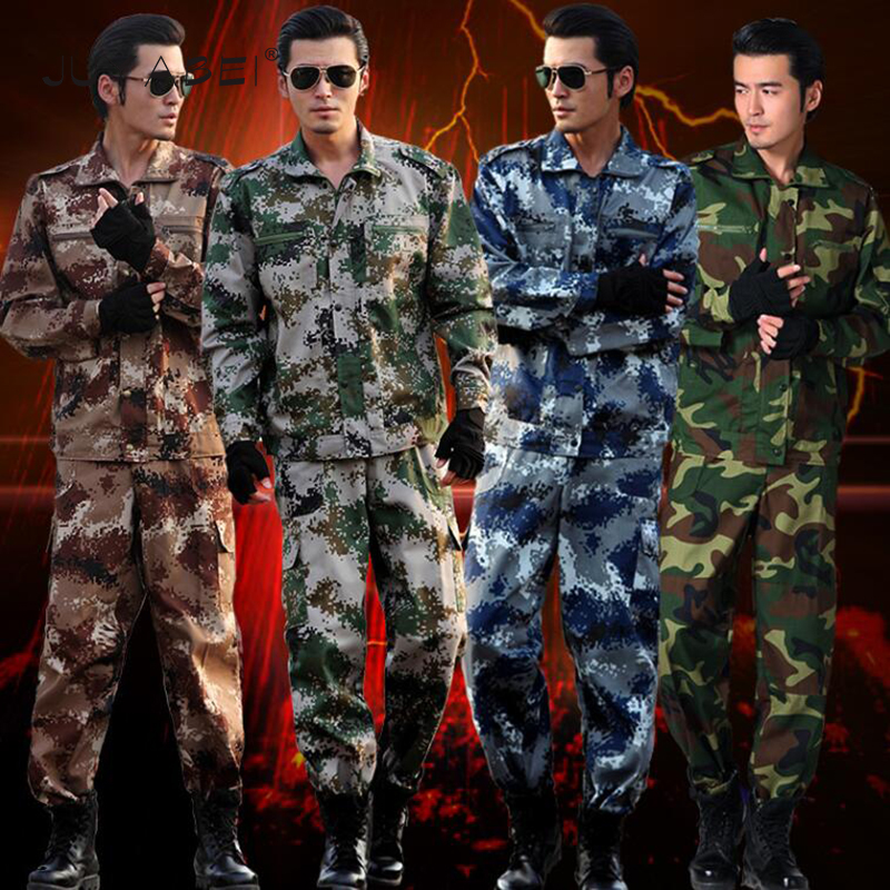 Military Uniform Men Women Unisex School Students Military Training Costumes Camouflage Sets Mixed Colors Long Sleeves Outdoor