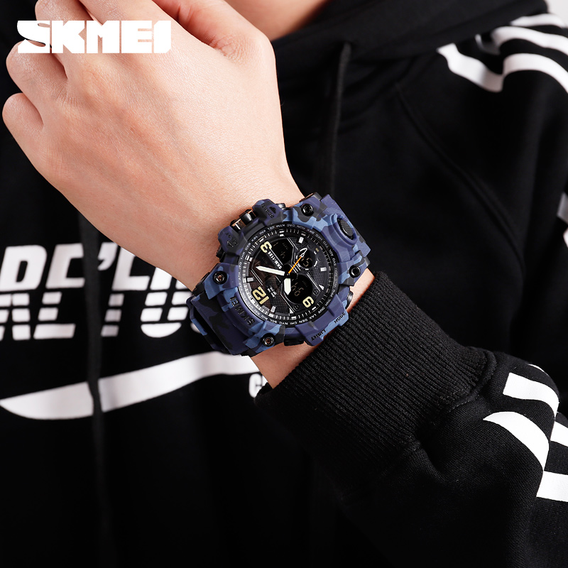 SKMEI Top Brand Sport Watch Men Military Digital Watches 5Bar Waterproof Dual Display Wristwatches Relogio Masculino 1155B