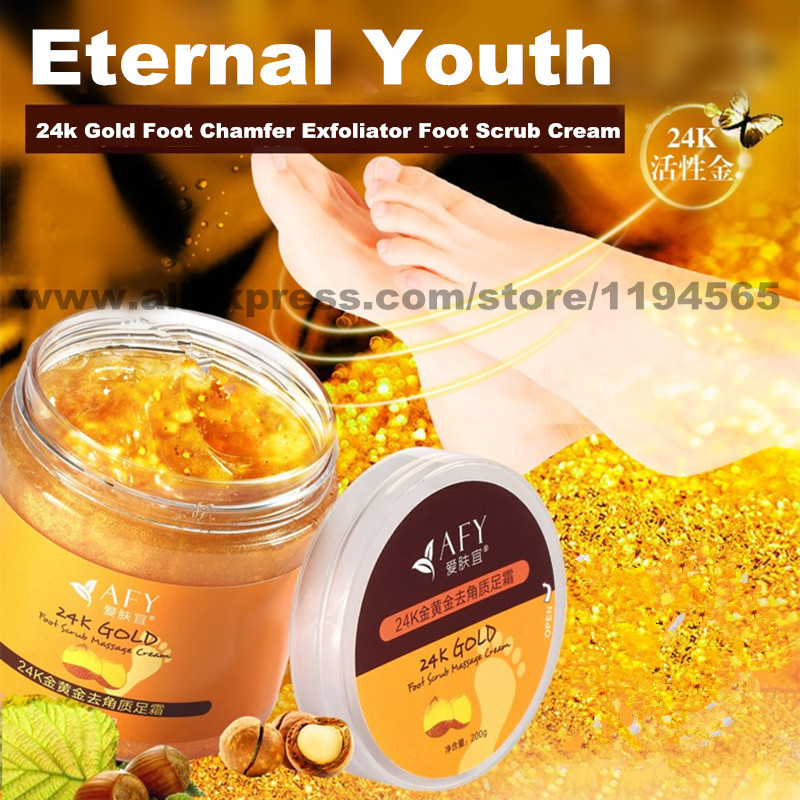 24k Gold Foot Chamfer Exfoliator Foot Scrub Cream Grind Arenaceous Remove Dry Dead Skin Scrub Massage Cream Feet Care