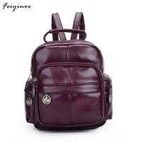 2016 New Fashion Designer Brand Leather Backpacks Vintage Men Travel Bags Black Brown Outdoor Laptop School