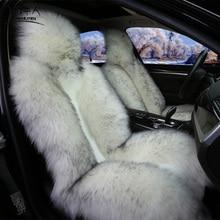 MUNIUREN 1pcs Long Wool Car Seat Covers Sheepskin Fur Pulvinis Winter Warm Natural Wool Seat Cushion 1 Piece Front Seat Cover