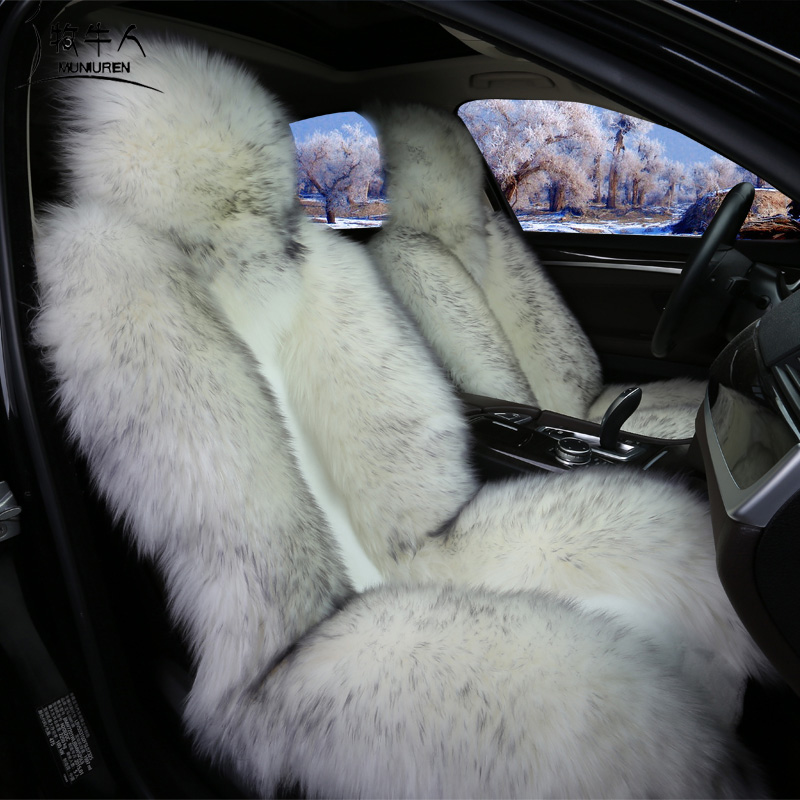 Natural Australian Wool Car Seat Cover Winter Warm Fur Seat Cushion Universal 1 Piece Front Seat Cover Auto Interior Accessories kawosen 2 pcs australian sheepskin fur seat cover super warm universal car seat cover 1 pair wool car seat covers cushion wscp02