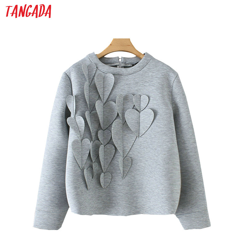 Tangada Women Hearts Appliques Sweatshirts Oversize Long Sleeve Back Zipper O Neck Gray Pullovers Casual Female Tops YD185