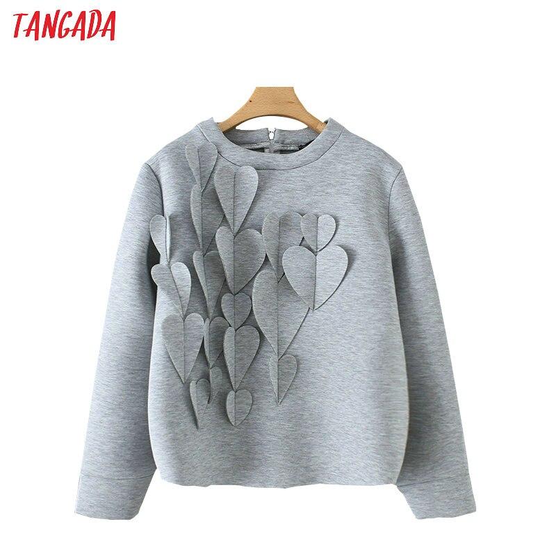 Tangada Women Hearts Appliques Sweatshirts Oversize Long Sleeve Back Zipper O Neck Gray Pullovers Casual Female Tops YD185