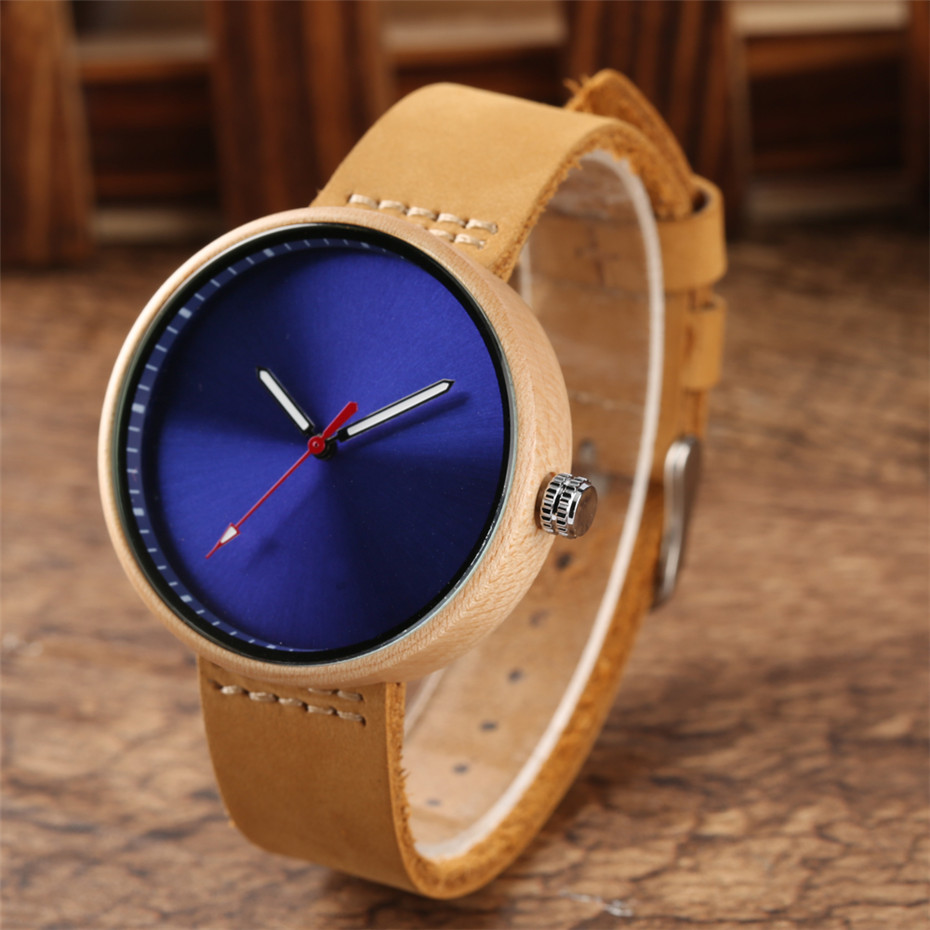Black/Blue/Red Colorful Dial Women Wrist Watch Maple Wood Case Lady Watches Simple Casual Leather Band 2018 New Fashion Clock