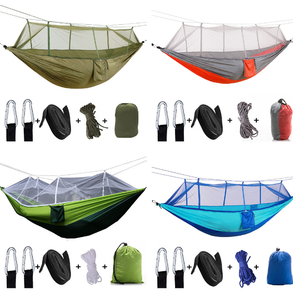 Outdoor Parachute Cloth Hammock With Mosquito Net Ultralight Nylon Double Army Green Camping Aerial Tent Creative Hammock Q353 army green khaki double outdoor hammock