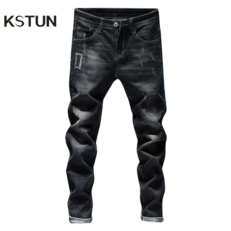 KSTUN Ripped Jeans For Men Black Jeans Stretch Patchwork Hip Hop Distressed Streetwear Slim Fit Male Jeans Denim Pants Homme