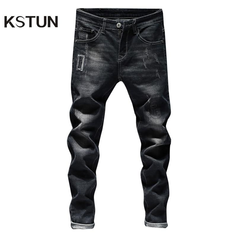 KSTUN Ripped Jeans For Men Black Jeans Stretch Patchwork Hip Hop Distressed Streetwear Slim Fit Male Jeans Denim Pants Homme