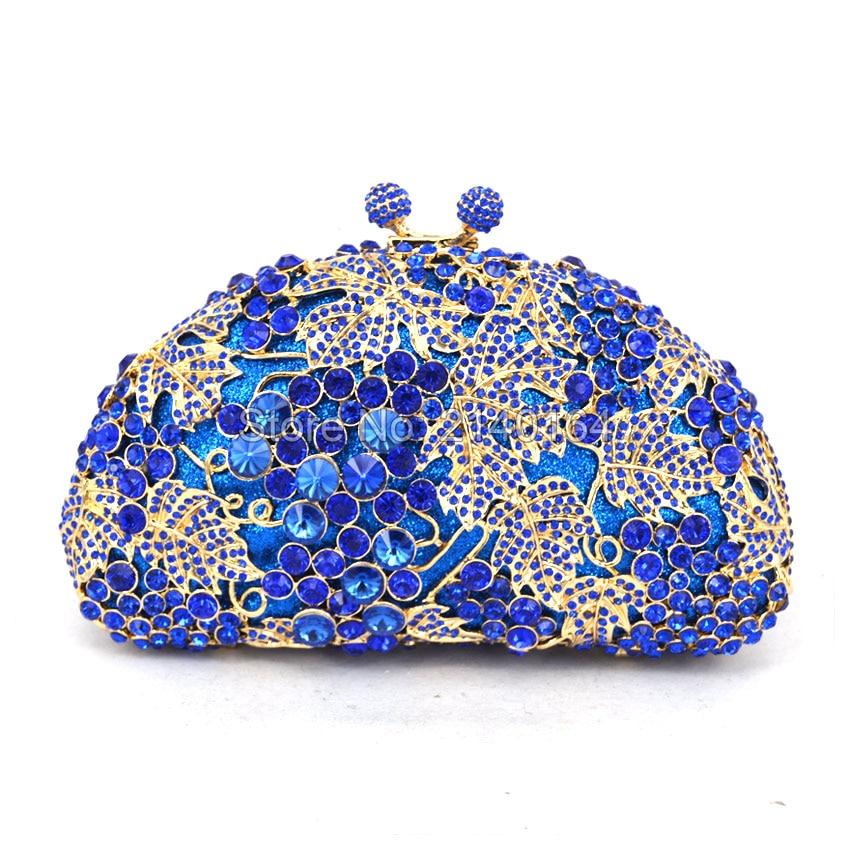 Metal Clutch Bag Grape Vine blue Crystal Evening Bags Hollow Out Rhinestones Handbags Wedding Clutches Purse Women Purses 88173C fawziya bag silver crystal clutch evening bags for womens purses and handbags