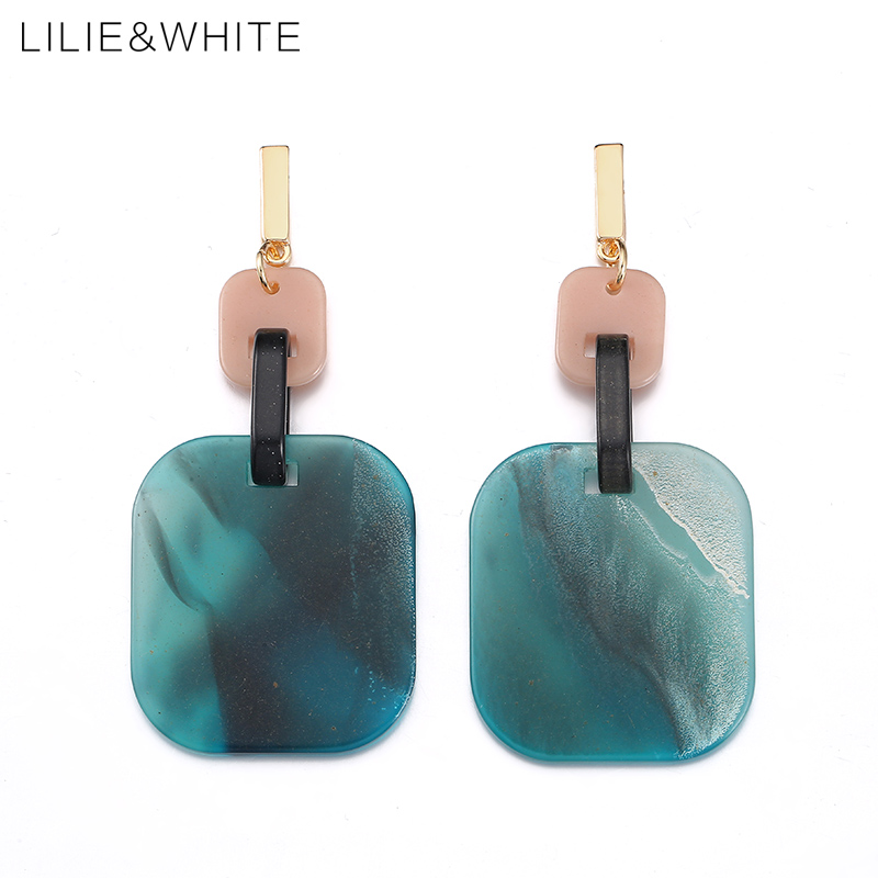 LILIE&WHITE Big Blue Square And Small Pink Rectangle Drop Earrings For Girls Marble Acrylic Geometric Earrings Ethnic Jewelry HF