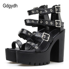 Gdgydh Square Heel Sandals Black Women Summer Shoes Sexy Rivets Ladies High Heels Shoes For Party Soft Leather Drop Shipping(China)