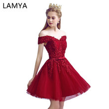 LAMYA Sexy Red Lace Elegant Knee Length Prom Dresses 2018 New Arrived Women Beading A Line Evening Party Dress With Bow cheap Off the Shoulder Sleeveless EV3240 Appliques Sashes Lace Knee-Length A-Line Natural Polyester Cotton Boat Neck Vintage None