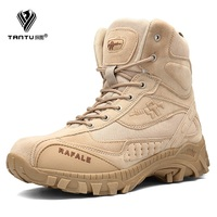 TANTU Winter Military Boots Men Fashion Army Boots Men' s Tactical Desert Combat High Top Ankle Boots Men Outdoor Work Shoes