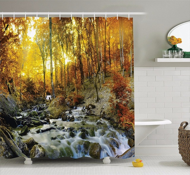 High Quality Arts Shower Curtains Autumn River Camouflage Waterfall Sunset Golden Leaf Bathroom Decorative