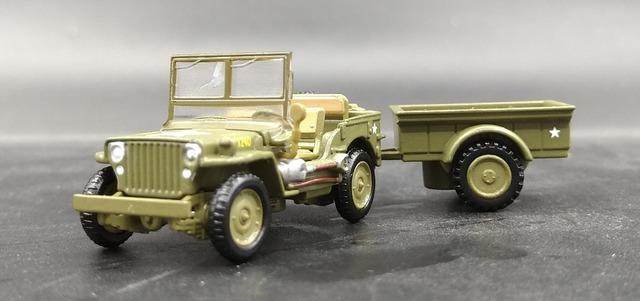 AMER 1: 72 la Segunda Guerra Mundial, los Estados Unidos VS M151 Je p Colección de modelos de Aleación de coche remolque