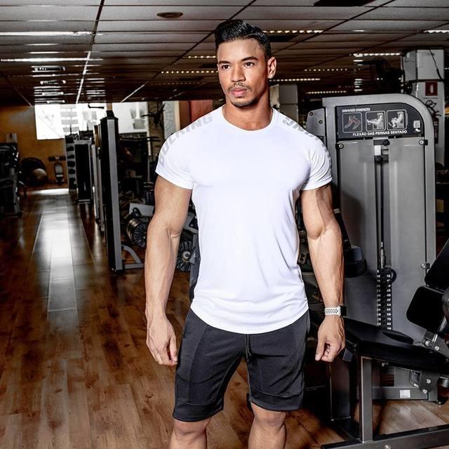 Men T shirt Short Sleeves Bulking T-shirt Quick drying Tees Elastic Tops Summer Gyms Fitness Bodybuilding Tshirts Brand Clothing