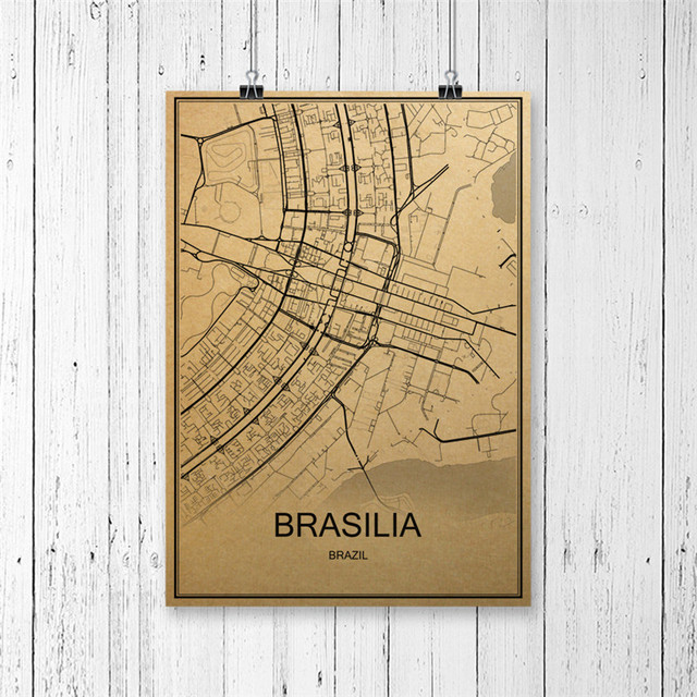 Brazil capital brasilia world map vintage poster retro painting brazil capital brasilia world map vintage poster retro painting krafts paper art wall picture home living gumiabroncs Images