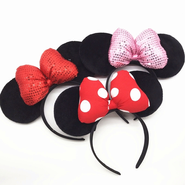 High Quality Mickey Minnie Shiny Hairband black mouse Ears Headbands For Women Hair Bows Accessories Birthday Party Celebration