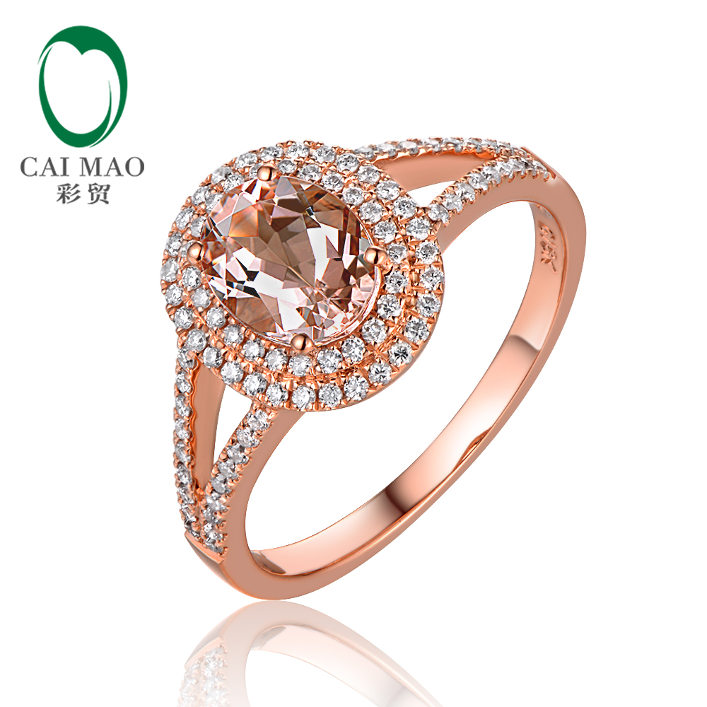New Arrival 14K Rose Gold 1.1ctw 6x8mm Oval Morganite and Pave Diamond Engagement Ring new arrival fantastic natural tourmaline ring with dia in18kt rose gold engagement ring oval 10x12mm wu249