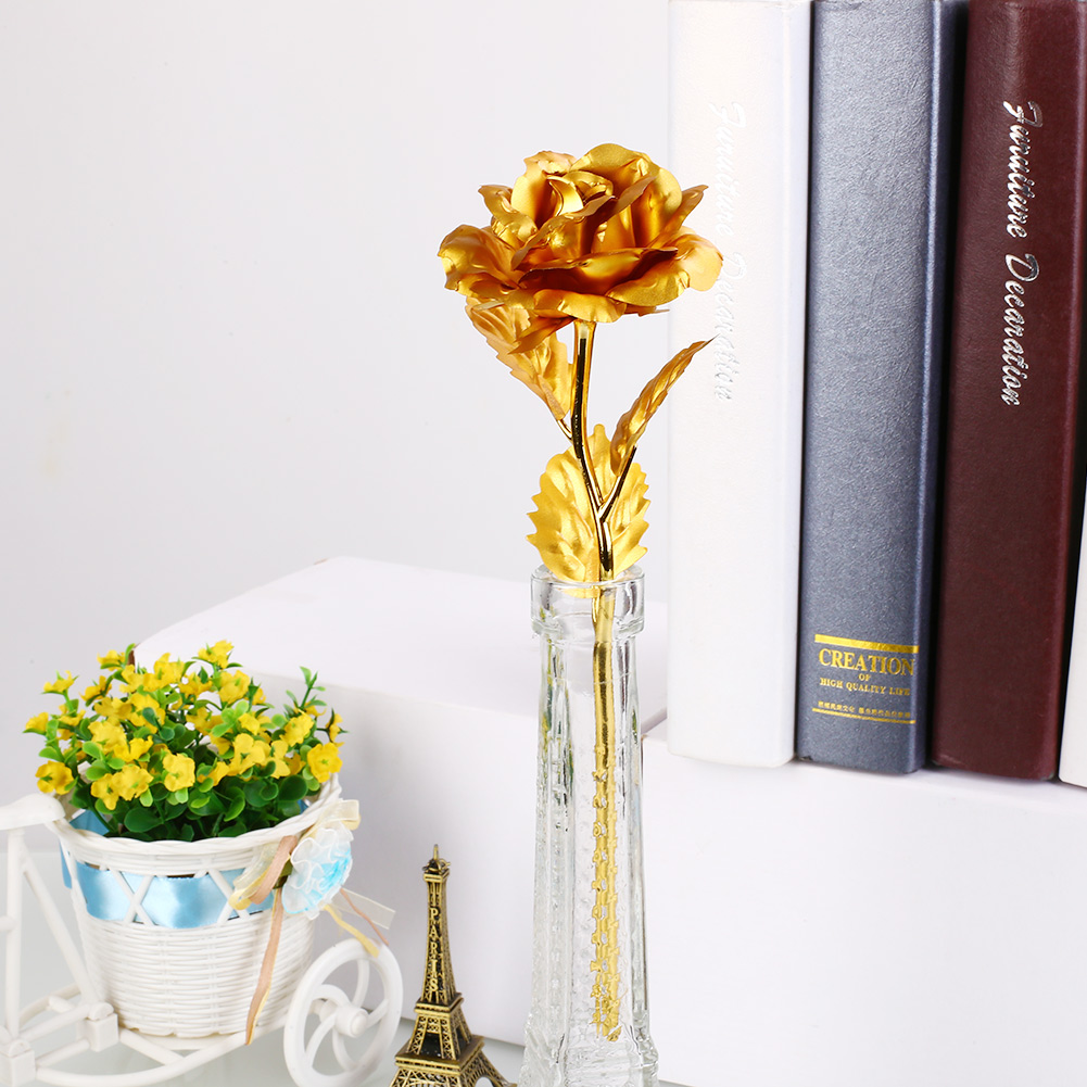 Romantic 24K Golden Rose Flower Wedding Festive Decoration Without Box