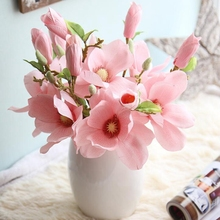 1 Pc Wedding Mini Magnolia Artificial Simulation Silk Short Branch Flower