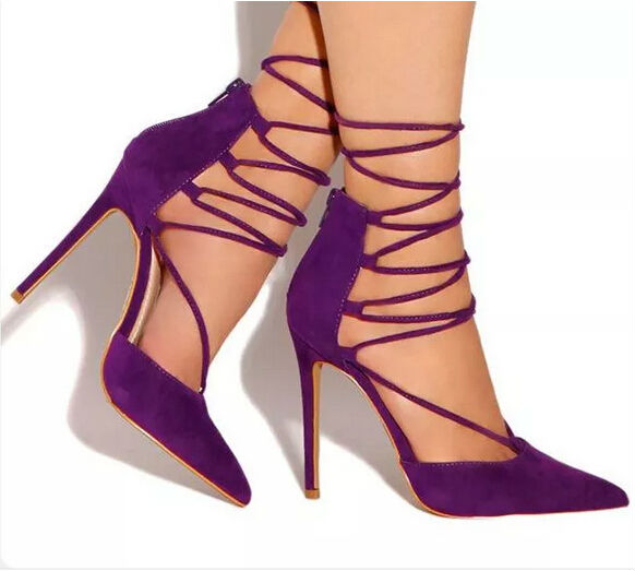 Purple summer high heel sandals ffor women pointed toe lace-up stiletto heels size 34 to 42 hot selling party dress shoes wholesale lttl new spring summer high heels shoes stiletto heel flock pointed toe sandals fashion ankle straps women party shoes